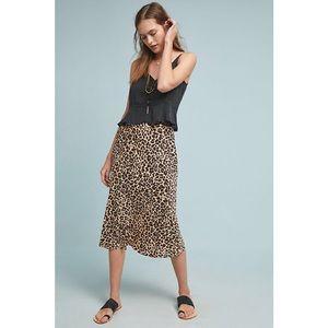 Anthropologie Midi Leopard Print Skirt 12